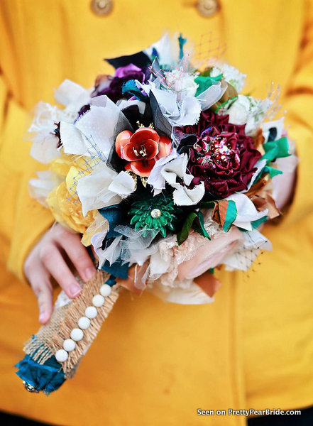Bold Colored Eco Fabric Bouquet