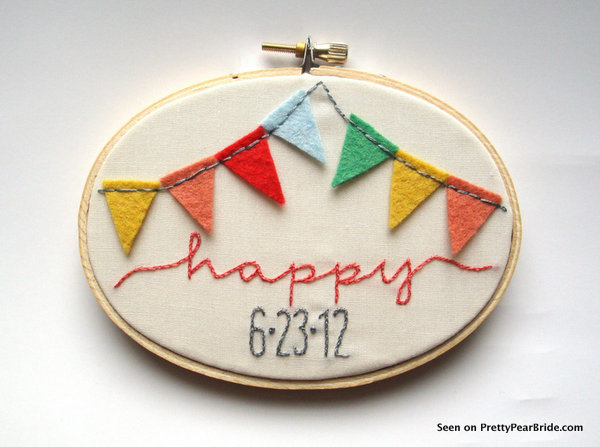 Banner Embroidery Hoop Art from jenniferallevato