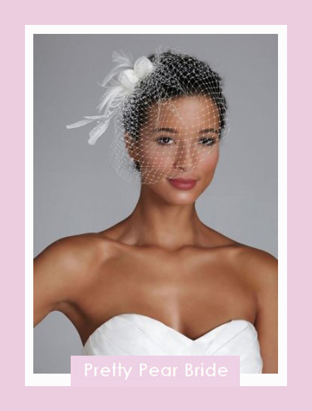Netted Bridal Clip with Feather and Pearl Spray; David's Bridal, $49