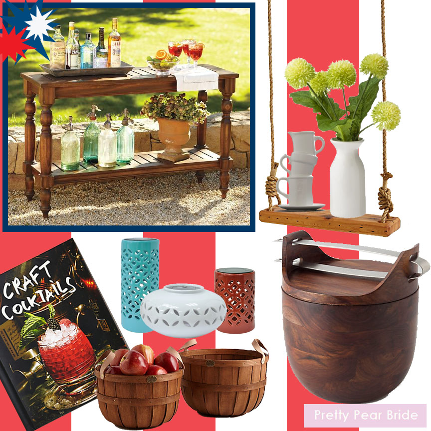 Clockwise: Old Fashioned Tree Swing; Anthrolpologie, $248 // Beautiful Balance Vase; ModCloth, $16.99 // Green Poms Table Arrangement; Target, $9.99 // Sheesham Ice Bucket; Anthropologie, $198 // Threshold™ Ceramic Solar Lantern - Small; Target, $19.99 // Threshold™ Ceramic Solar Lantern - Oval; Target, $19.99 // Threshold™ Ceramic Tabletop Lantern; Target, $24.99 // Hand-Braided Apple Baskets; Anthropologie, $60 // Craft Cocktails Cookbook; Amazon, $45 // Faraday Console Table; Pottery Barn, ON SALE $294
