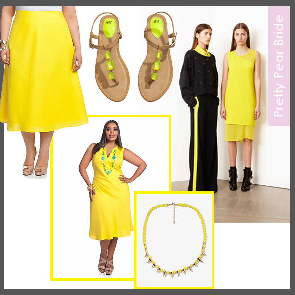 Clockwise from top right: DKNY; WGSN, pre-summer 2014 // Spike Beaded Necklace; Forever 21, $6.80 // Linen Placket Bias Dress; Ashely Stewart, $39.50 // Linen Bias Skirt; Ashley Stewart, $29.50 // Sandals; H&M, $24.95