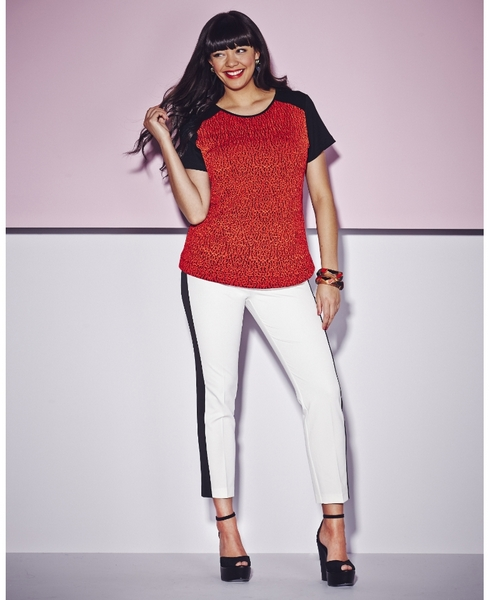 Textured T-Shirt; Simply Be, $22.50 // White and Black Panel Trouser; Simply Be, $27.50