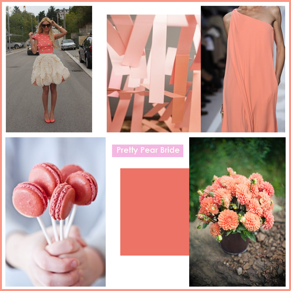 Clockwise from top right: Diane Von Furstenberg Spring 2012 image from Pinterest // Floral Arrangement, weddingchicks.com // Pantone Color Swatch, WGSN // Macaroon Pops image from Pinterest // Street Wear Picture from Pinterest // Paper Decor, thesweetestoccasion.com