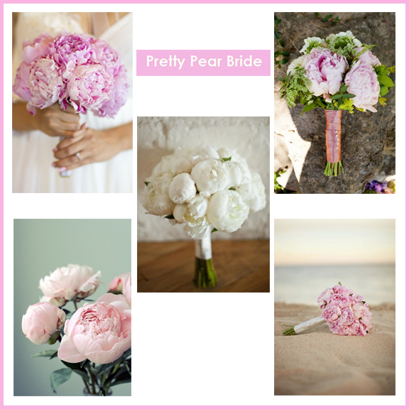 Clockwise from top right: Multi Flower Bouquet; Elizabeth Anne Designs // Peony Bouquet on Beach; Aileen + Alex: A Destination Wedding in Cabo San Lucas from Jana Williams Photography, limnandlovely.com // Rosy Pink Peonies; mrsamberapple.tumblr.com // Pink Peonies; Image from Pinterest // White Peonies; Image from Pinterest
