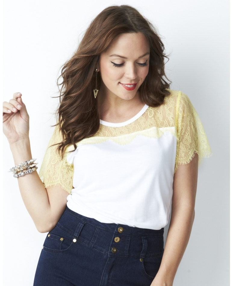 Lace Trim Jersey Top; Simply Be, was $45 now ON SALE for $27
