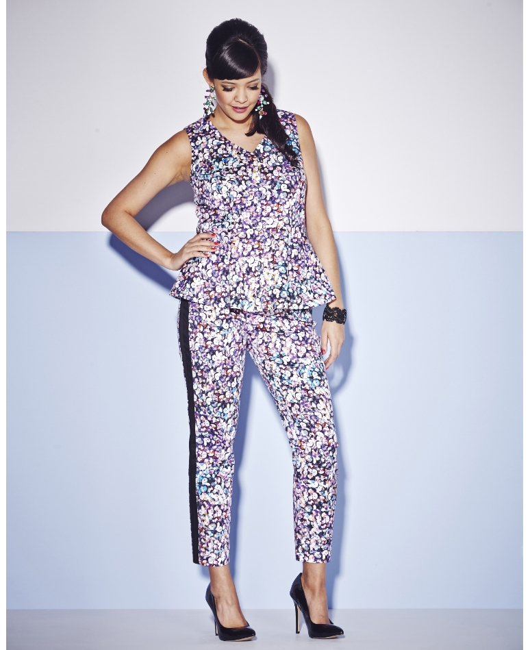 Sequin Print Peplum Top; Simply Be, $36 // Sequin Print Trousers; Simply Be, $39