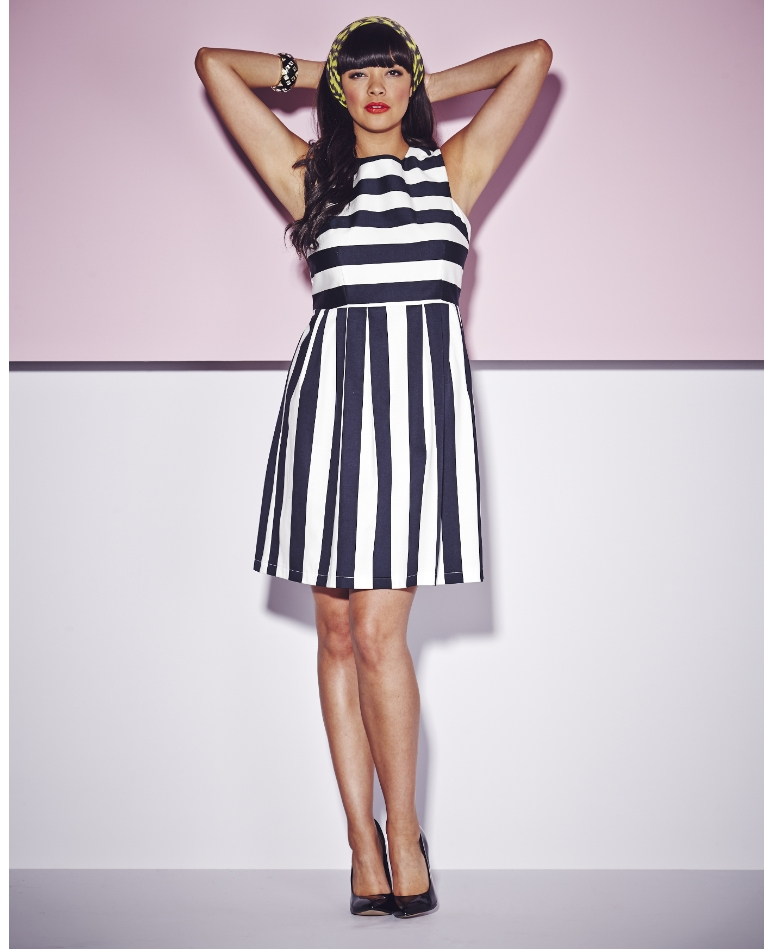 Striped Cut Out Back Dress; Simply Be, $54