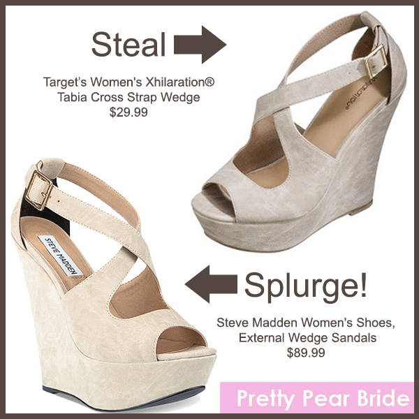 Steal: Women's Xhilaration® Tabia Cross Strap Wedge; Target, $29.99 // XTERNAL Wedges; Steve Madden, $89.99