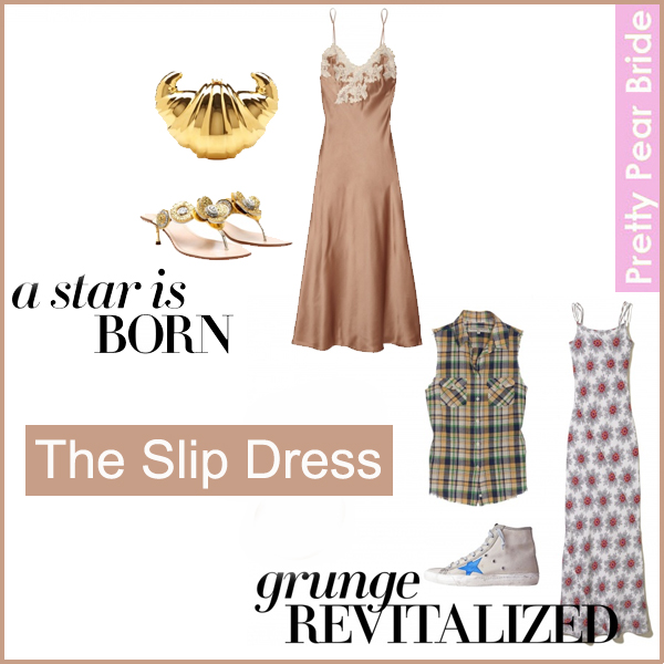 A Star Is Born: Charlotte Olympia croissant clutch, $1,695 // La Perla Maison lace-trimmed chemise, $700 // Miu Miu kitten-heel leather sandals, $639  Grunge Revitalized: What Goes Around Comes Around plaid cut off sleeve shirt, $138 // Maggy Frances Olivia silk gown, $425 //  Golden Goose francy sneaker, $508