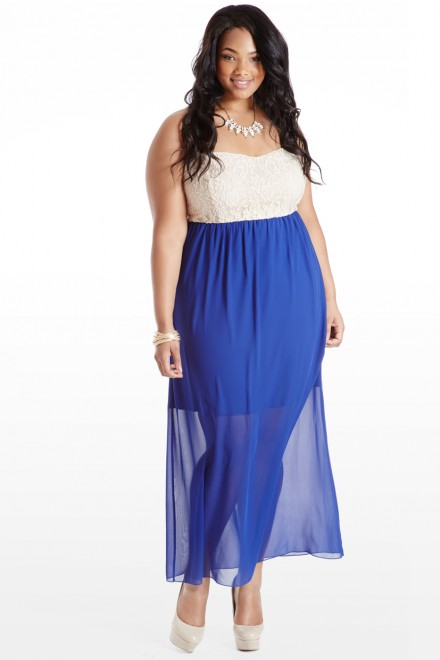 Once Upon A Lace Maxi Dress; Fashion To Figure, $36