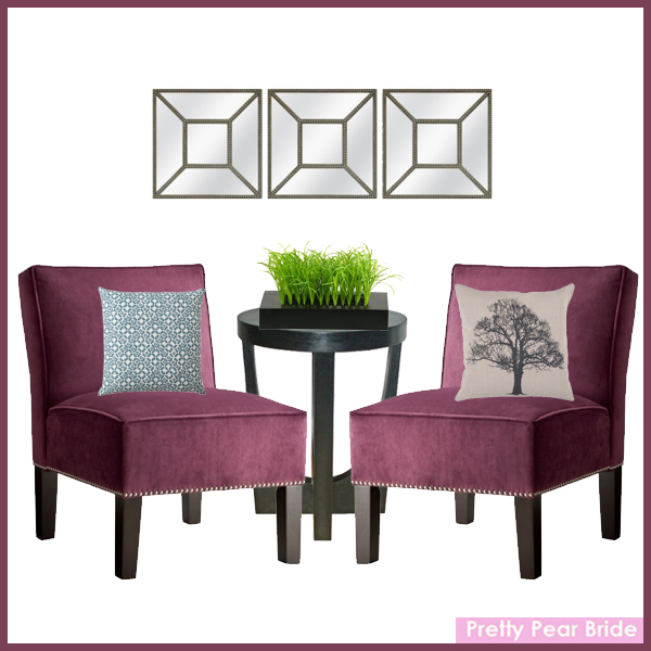 Images clockwise from top center: Square Beaded Mirror; Target, $29.99 // Velvet Chair with Nailhead Trim; Target, $149.99 // Vintage Tree Toss Pillow; Target, $19.99 // Modern Side Table; Target, $79.99 //  Grass in Square Black Wooden Planter; Target, $39.99 // Velvet Chair with Nailhead Trim; Target, $149.99 // Threshold™ Clover Toss Pillow; Target, $24.99