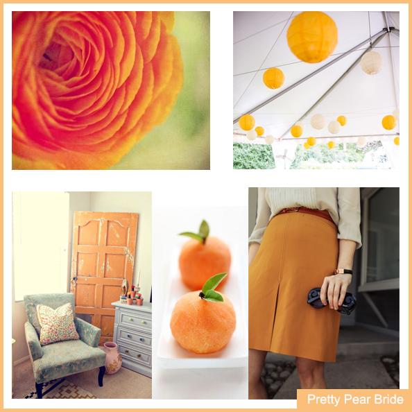 Images clockwise from top right: Paper Lanterns; eleganceandsimplicity.com // Orange Skirt; thechloeconspiracy.com // Oranges; Pinterest // Room Decor; Pinterest // Flower; Pinterest