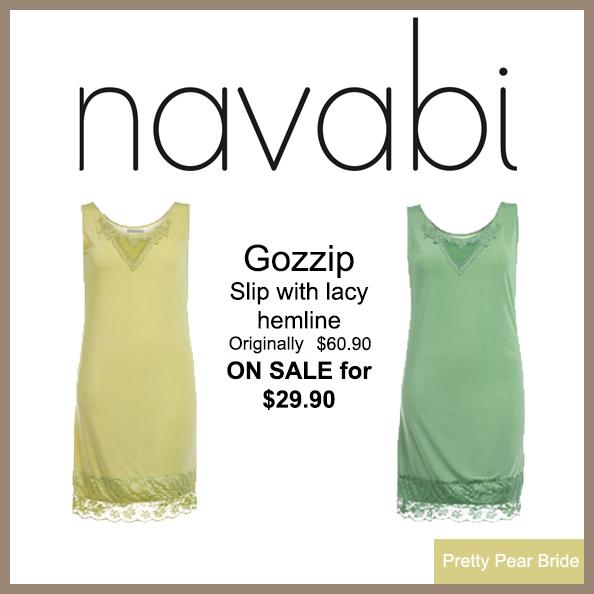 Gozzip Slip with Lacy Hemline (in light green or yellow); Navabi, $29.90