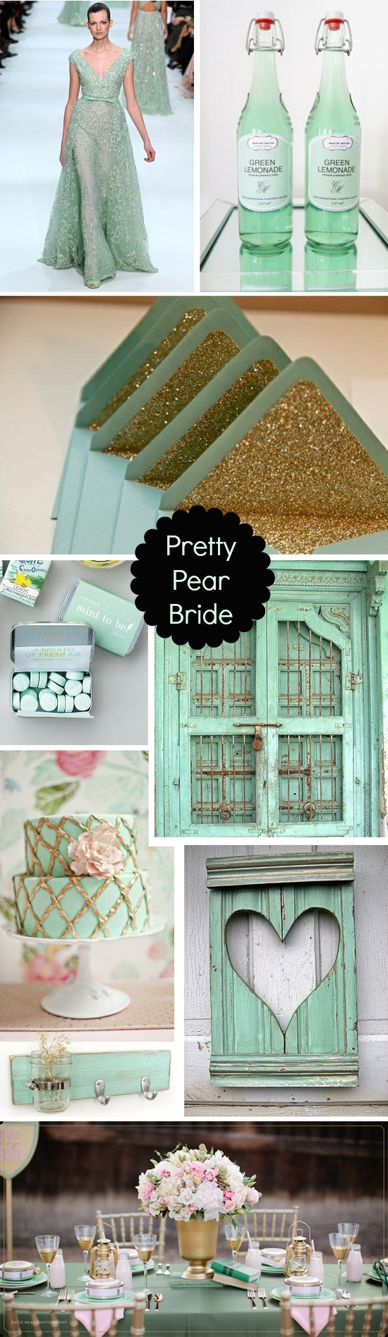 plus size brides, mint and gold