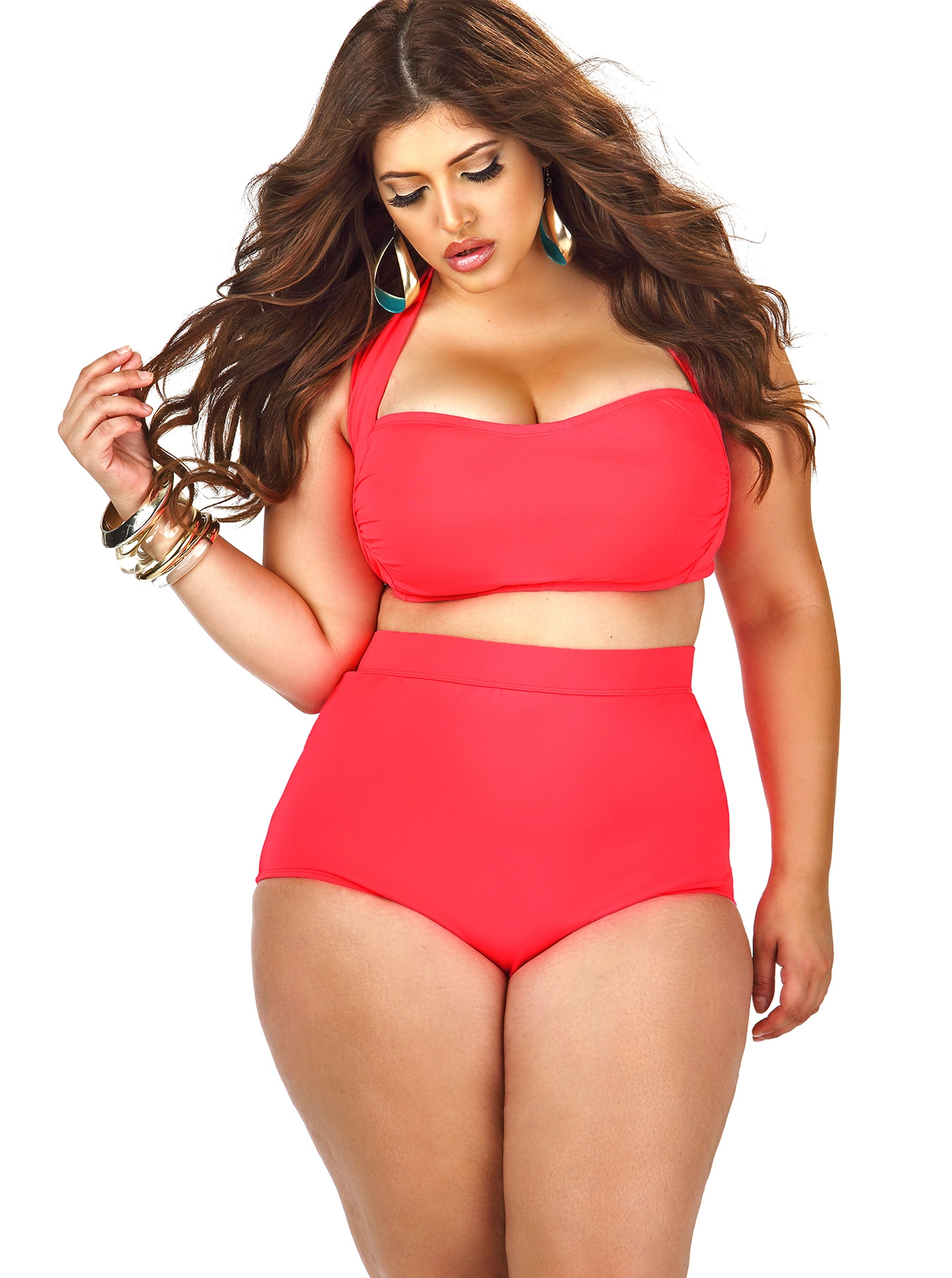 """""""SAO PAULO"""" HIGH-WAISTED PLUS SIZE BIKINI TOP WITH UNDERWIRE -CORAL REGULAR PRICE: $88.00 SPECIAL PRICE: $52.80"""