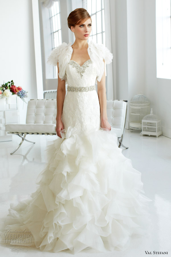 val-stefani-fall-2013-bridal-strapless-organza-mermaid-wedding-dress-d8045-short-sleeve-bolero-jacket