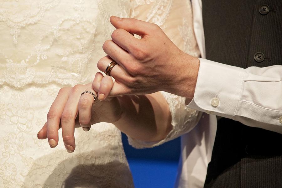 Gorgeous plus size bride wearing an A line dress
