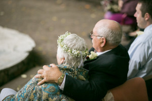 Grandparents as a flower girl and ring bearer in this a fall garden wedding with a brunch reception