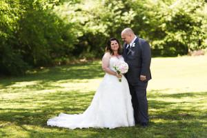 Stunning plus size bride in a B & B Spring Wedding in Missouri
