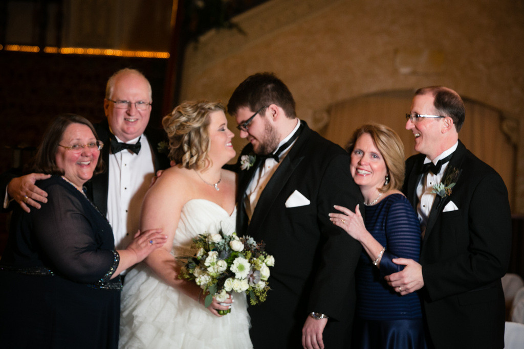 Elegant Navy, Gold and Emerald Winter Wedding in Indiana featuring a plus size bride