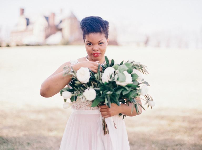 plus size bride, virginia estate, watters gown, florals