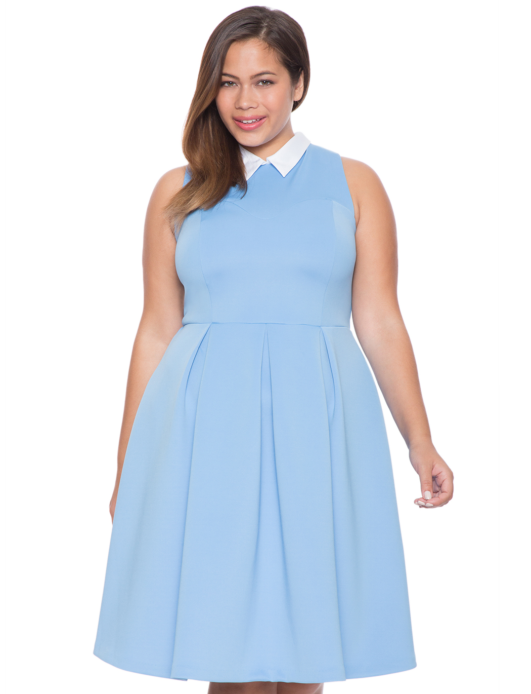 Eloqui Fit and Flare Plus Size Collar Dress
