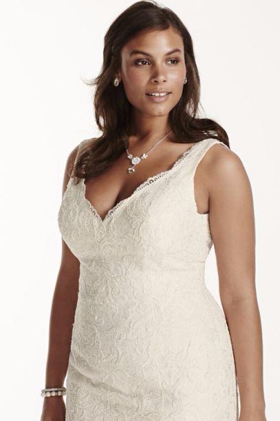 Jewel Scalloped Mermaid Plus Size Wedding Dress