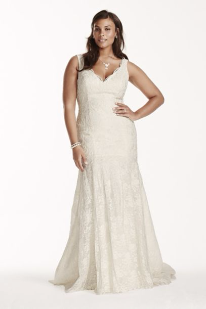 Jewel Scalloped Mermaid Plus Size Wedding Dress