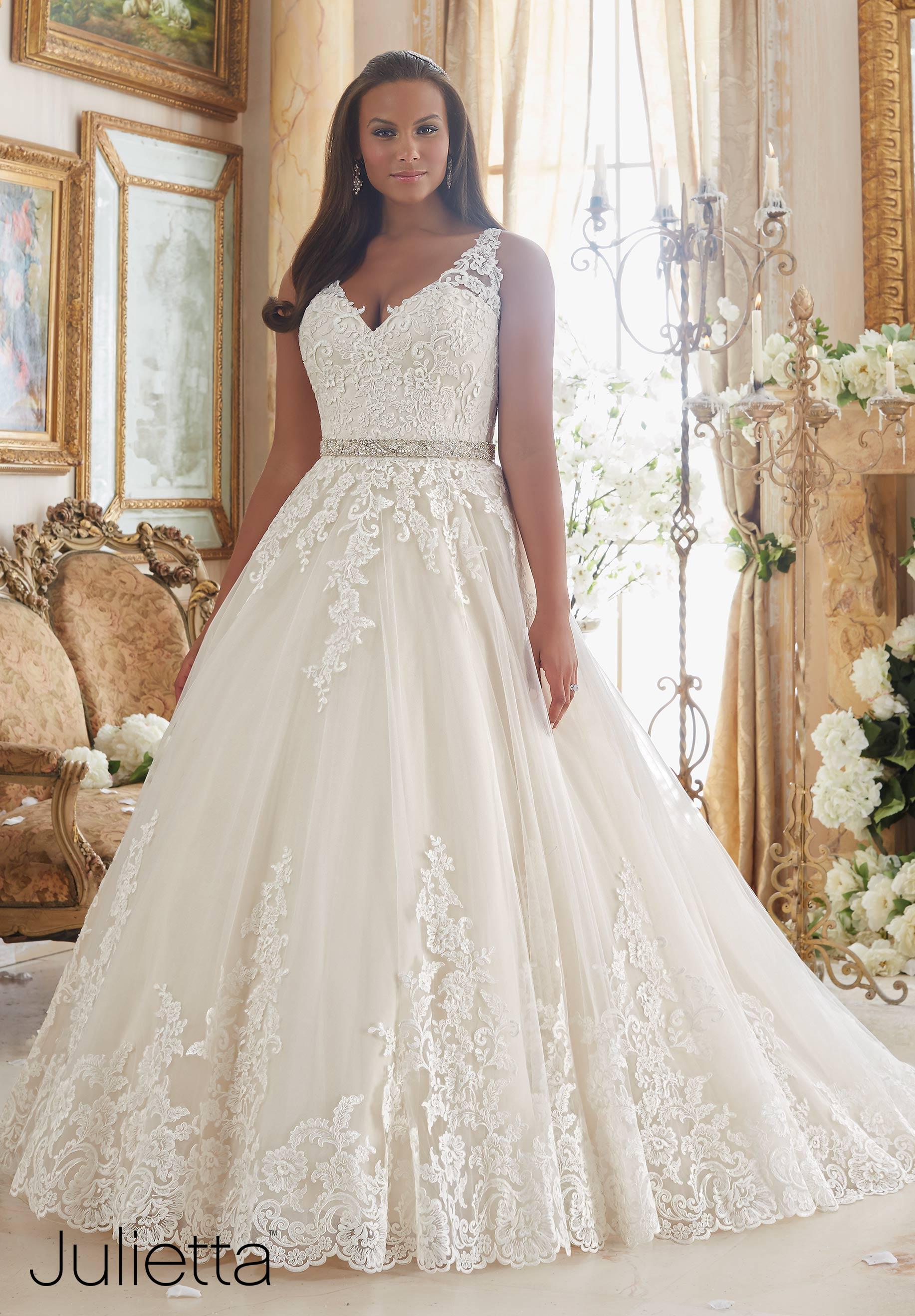 Plus Size Wedding Gowns | Mori Lee | Julietta Collection | Pretty Pear Bride
