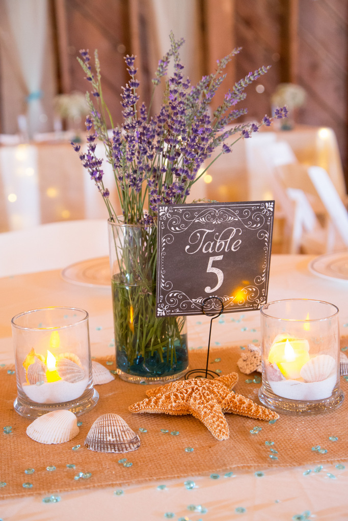 nautical diy table centerpiece, bouquet, starfish, table numbers chalkboard