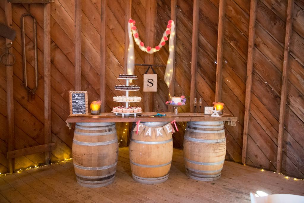 reception setup, dessert table, rustic wedding, barn wedding