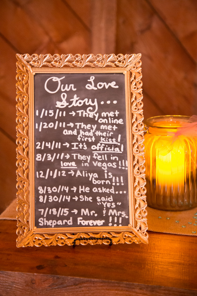 wedding day sign, chalkboard, our love story
