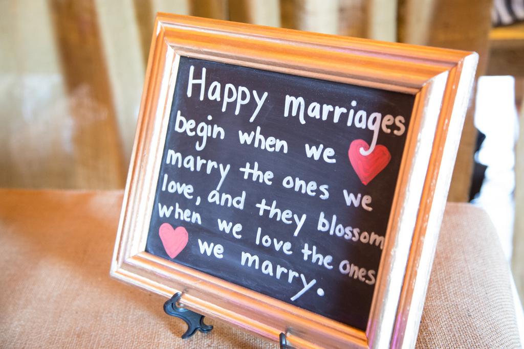 wedding day sign, chalkboard, happy marriage begins
