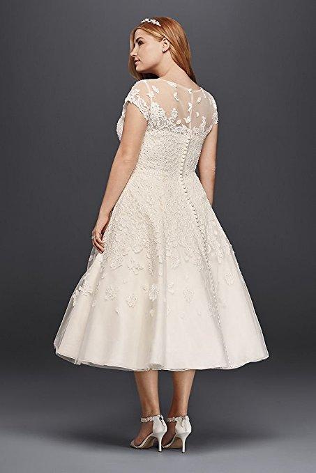Oleg Cassini Cap Sleeve Tea Length Wedding Dress | Pretty Pear Bride