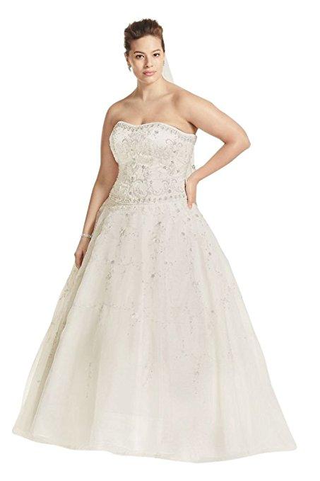 Plus Size Oleg Cassini Satin and Organza Wedding Dress Style 8CT258 | Pretty Pear Bride