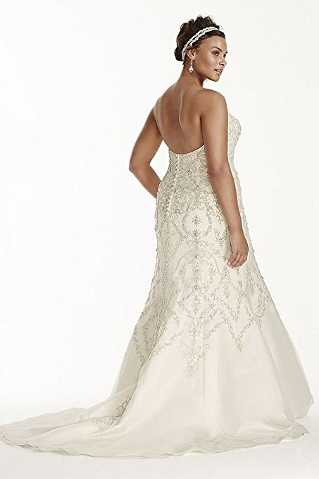 Plus Size Oleg Cassini Tulle Beaded Mermaid Wedding Dress Style 8CWG706 | Pretty Pear Bride