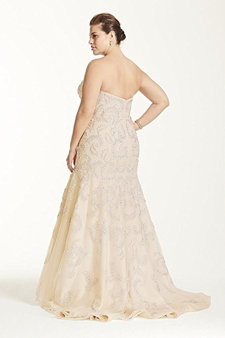 Tulle Plus Size Oleg Cassini Lace Trumpet Beaded Wedding Dress Style 8CMB619 | Pretty Pear Bride