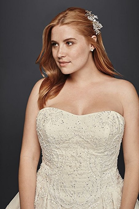 Oleg Cassini Plus Size Lace Tulle Wedding Dress Style 8CWG635 | Pretty Pear Bride