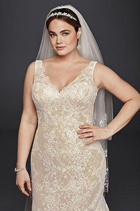 Oleg Cassini Plus Size Lace Trumpet Wedding Dress Style 8CWG747 | Pretty Pear Bride