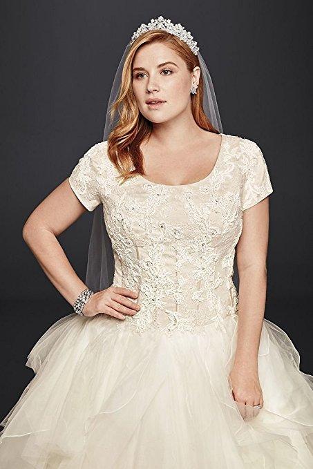 Organza Oleg Cassini Plus Size Modest Ruffle Wedding Dress Style 8SLCWG568 | Pretty Pear Bride