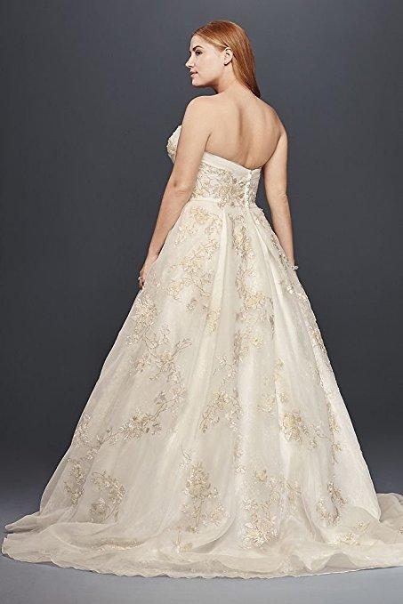 Plus Size Oleg Cassini Organza Wedding Dress with Beading Style 8CWG700 | Pretty Pear Bride