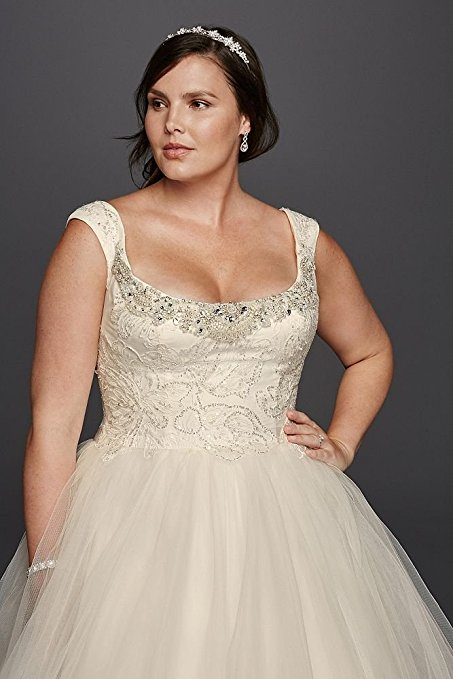 Tulle Plus Size Oleg Cassini Off the Shoulder Lace Wedding Dress Style 8CWG733 | Pretty Pear Bride