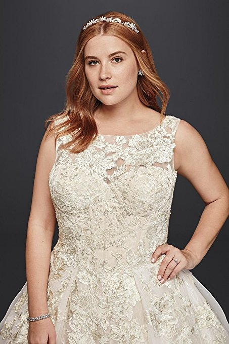 Plus Size Oleg Cassini Tank Lace Wedding Dress with Beads Style 8CWG658 | Pretty Pear Bride