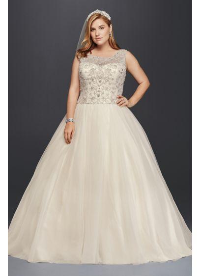 Tulle Oleg Cassini Plus Size Beaded Wedding Ball Gown Wedding Dress Style 8CV745 | Pretty Pear Bride