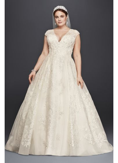 Tulle Oleg Cassini Plus Size Ball Gown Wedding Dress Wedding Dress Style 8CWG748 | Pretty Pear Bride