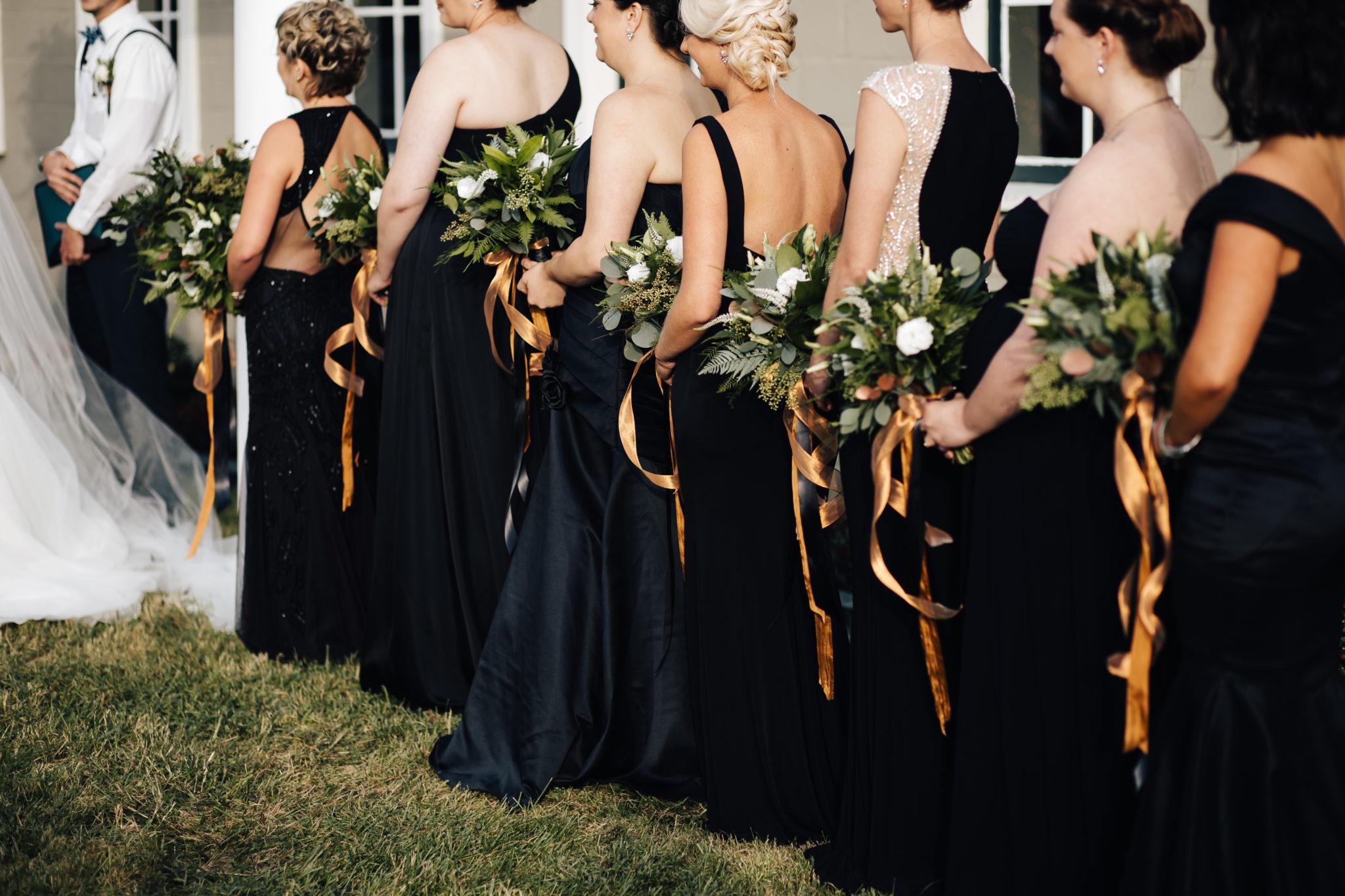 Black and white wedding bridesmaids