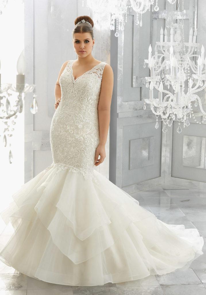 plus size bridal gown, mori lee