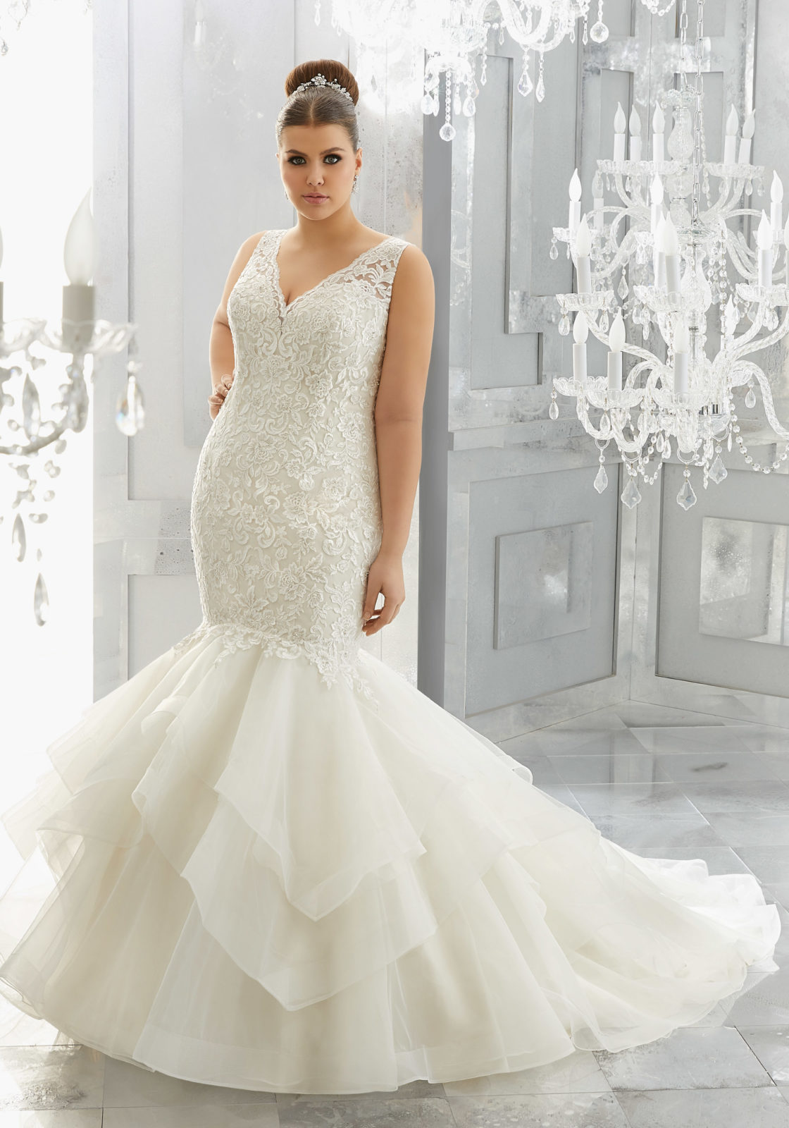 plus size bridal gown, mori lee