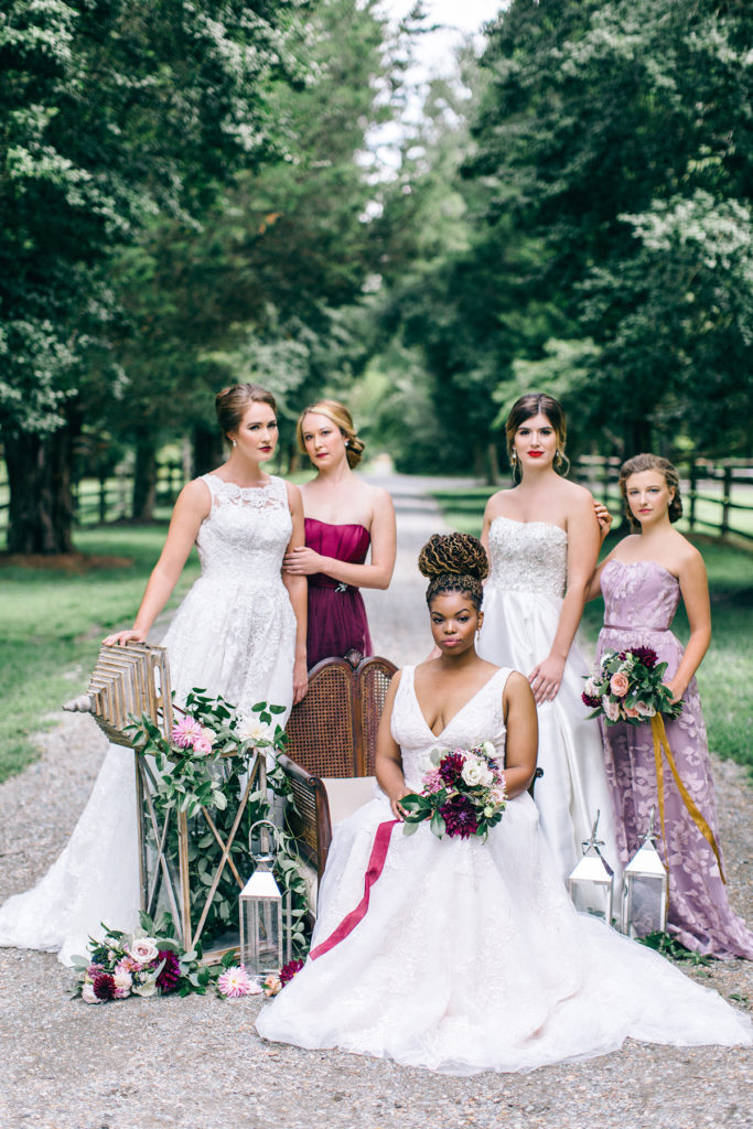 STYLED SHOOT | Romantic Wine, Navy and Blush Wedding Inspiration featuring David's Bridal | Pretty Pear Bride