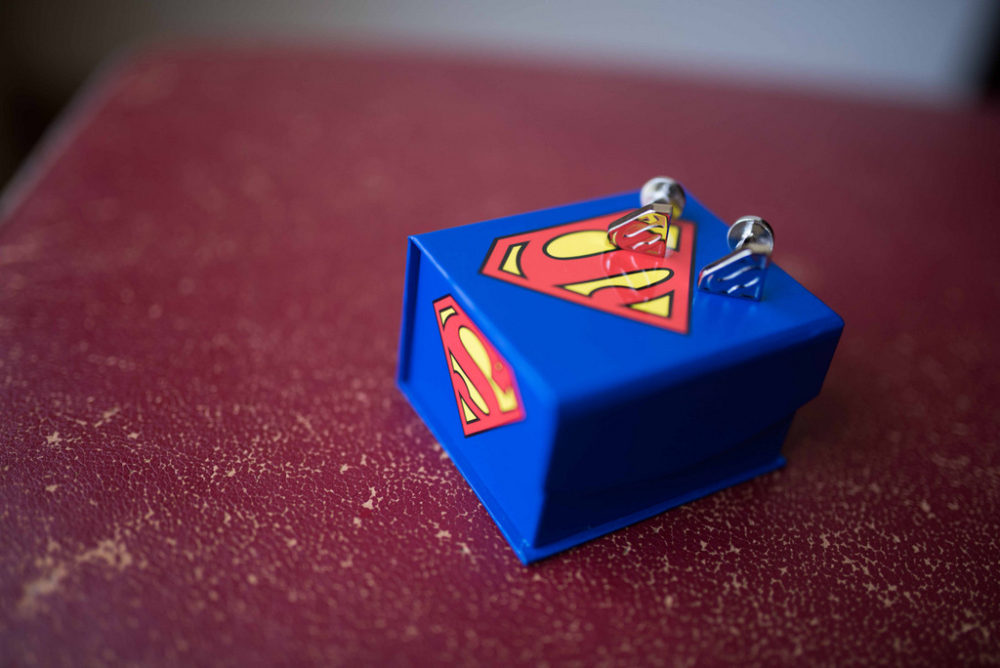superman inspired cufflinks and box